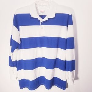 Hartwell Mens Long Sleeve Striped Polo sz Large
